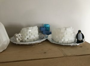 Winterssfeertje met iglo's van suikerklontjes